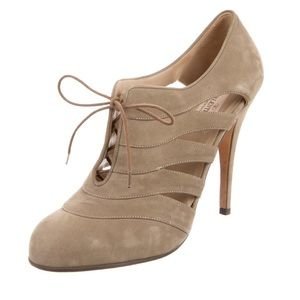 Valentino Suede Lace Up Heels, Sz 38.5